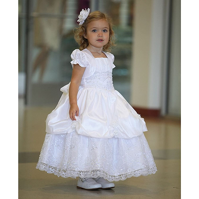 Amazon Angels Garment White Satin Lace Baptism Dress Infant