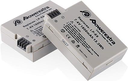 Image ofPowerextra - Batería de repuesto para cámaras digitales Canon EOS Rebel T2i, T3i, T4i, T5i, EOS 700D, 550D, 600D, 650D, Kiss X4, X5, Kiss X6, LC-E8E (2 unidades)