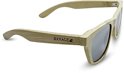 ac5e32e655 Amazon.com  SAVAGE original bamboo wayfarer polarized sunglasses - handmade!  (Natural Bamboo
