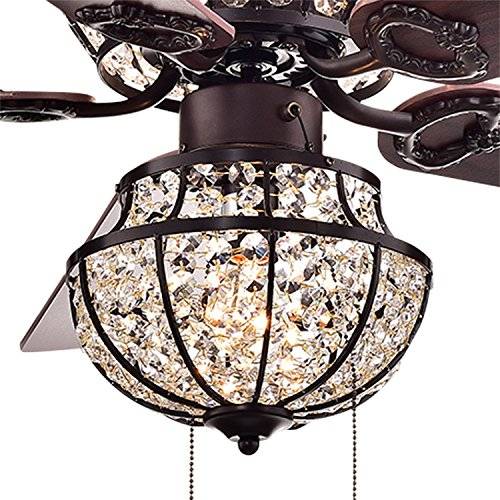 Warehouse of Tiffany CFL-8154BR Charla 4-Light Crystal 52 inch Chandelier Ceiling Fan by Warehouse of Tiffany (Image #3)