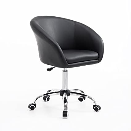 Marvelous Homcom Hydraulic Rolling Faux Leather Height Adjustable Salon Bucket Chair Black Bralicious Painted Fabric Chair Ideas Braliciousco