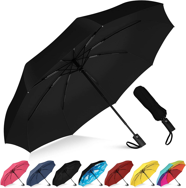 BANANA UMBRELLA Windproof Compact Travel Umbrella Black Auto Close and Open