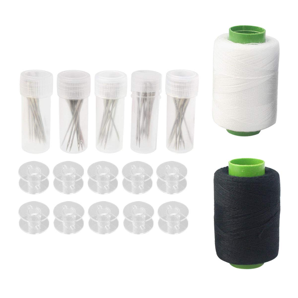 67 Pcs Sewing Tool Set, 50 Pieces Sewing Machine Needles Size 11, 12, 14, 16, 18 with 5 Pcs Needle Bottles + 10 Pieces Clear Plastic Sewing Machine Bobbins + Black and White Thread by mifengdaer