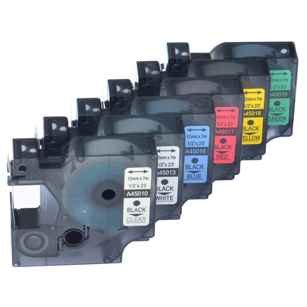 NineLeaf 6 Pack Combo Set Labeling Tapes For Dymo D1 45010 45013 45016 45017 45018 45019 1/2 inch LabelManager 360D 420P Label Maker NineLeaf Tech