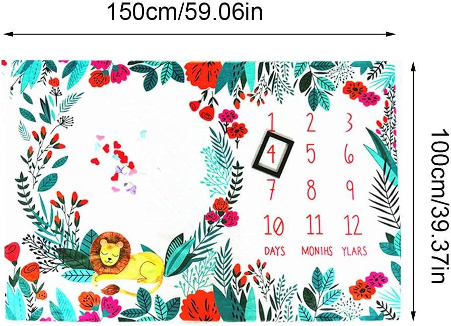 Chiic Couverture Mensuel B/éb/é Couverture Photo Nouveau N/é Lion des For/êts Motif Premiere Annee Accessoire B/éb/é Photographie