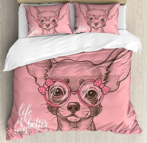 Ambesonne Dog Duvet Cover Set, Girl Chihuahua Sketch Illustration with Words Fashion Glasses Ribbons Puppy, Decorative 3 Piece Bedding Set with 2 Pillow Shams, Queen Size, Green Pink