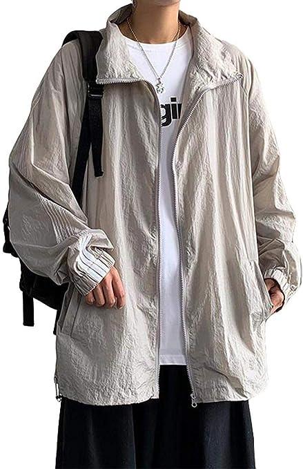 [ZHONGJUE]メンズ アウター 長袖 薄手 ブルゾン 日焼け止め UVカット ジャケット 無地 大きいサイズ カジュアル ゆったり ジャンパー ライトジャケット 韓国 ファッション ジップアップ 原宿系 夏物 春