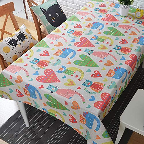 Honlaker Cute Cartoon Cotton Linen Tablecloths Square Computer Coffee Table Thick Tablecloth  A B07SLZWTTT