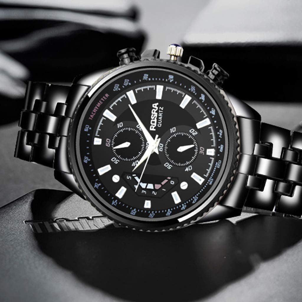 Amazon.com: Sandistore Clearance! Men Watches Men Sport Watches Fashion Quartz Watch Black Stainless Steel Mens Watches: Watches