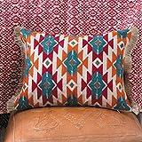 Rod's Southwest Aztec Pillow with Burlap Trim