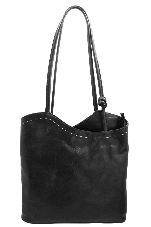 Cuoieria Fiorentina Italian Leather Convertible Shoulder Backpack Handbag (Black)