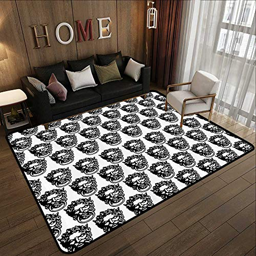 Rugs for Living Room,Black and White,Monochrome Medieval Knocker Old Antique Figure Head Cartouche Gothic Theme,Black White 55