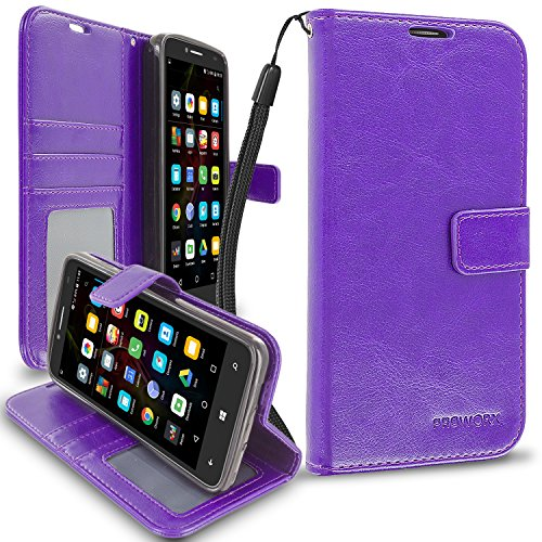 Fierce XL Wallet, PROWORX Premium Luxury PU Leather Wallet Flip Protective Case Cover with Card ID Slots & Stand Purple For Alcatel OneTouch Fierce XL