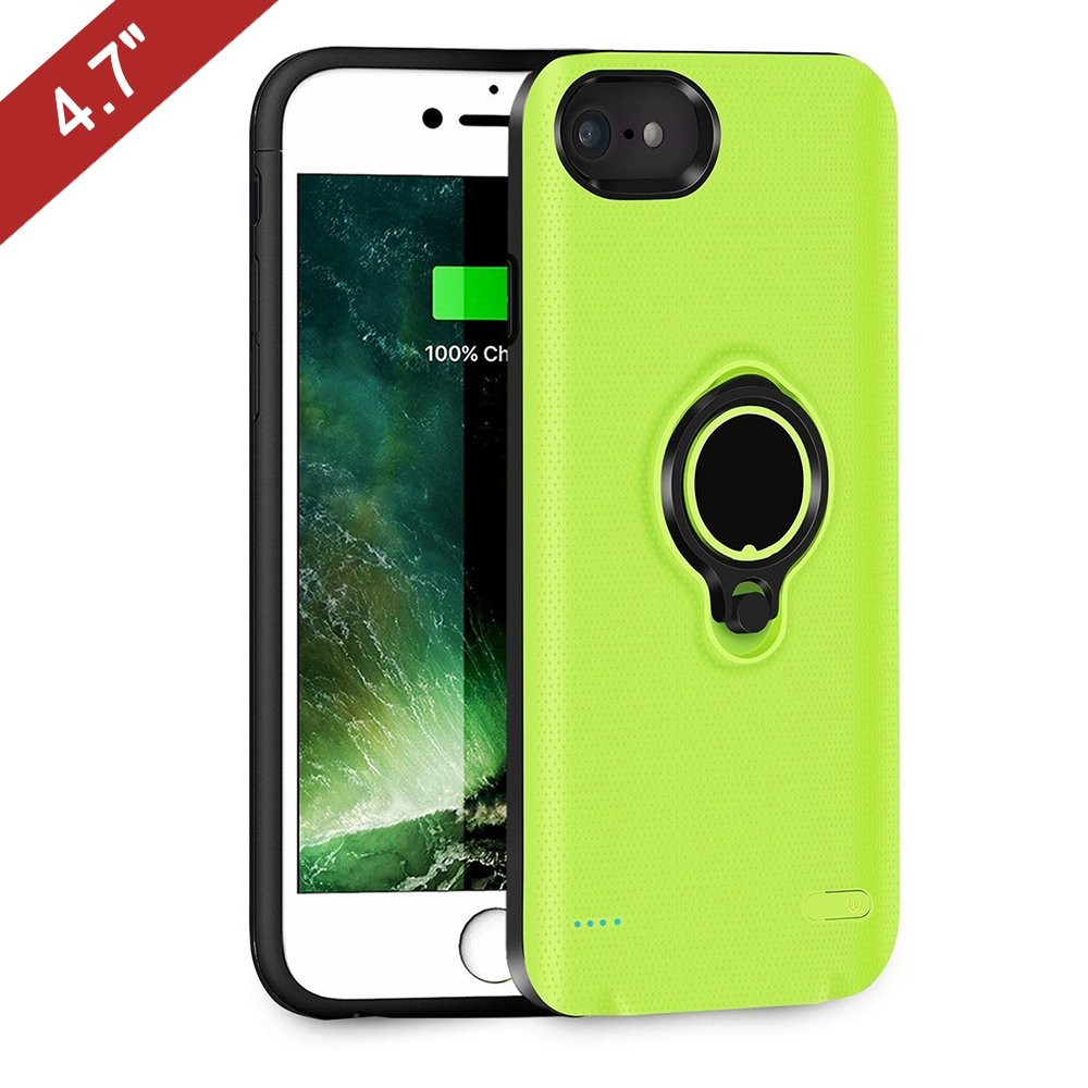 iPhone 6/6s/7 Battery Case, QueenAcc 2500mAh Portable Battery Charging Case Slim Extended Battery Pack with Kickstand and Support Magnetic Car Mount Holder.(green, 4.7inch)