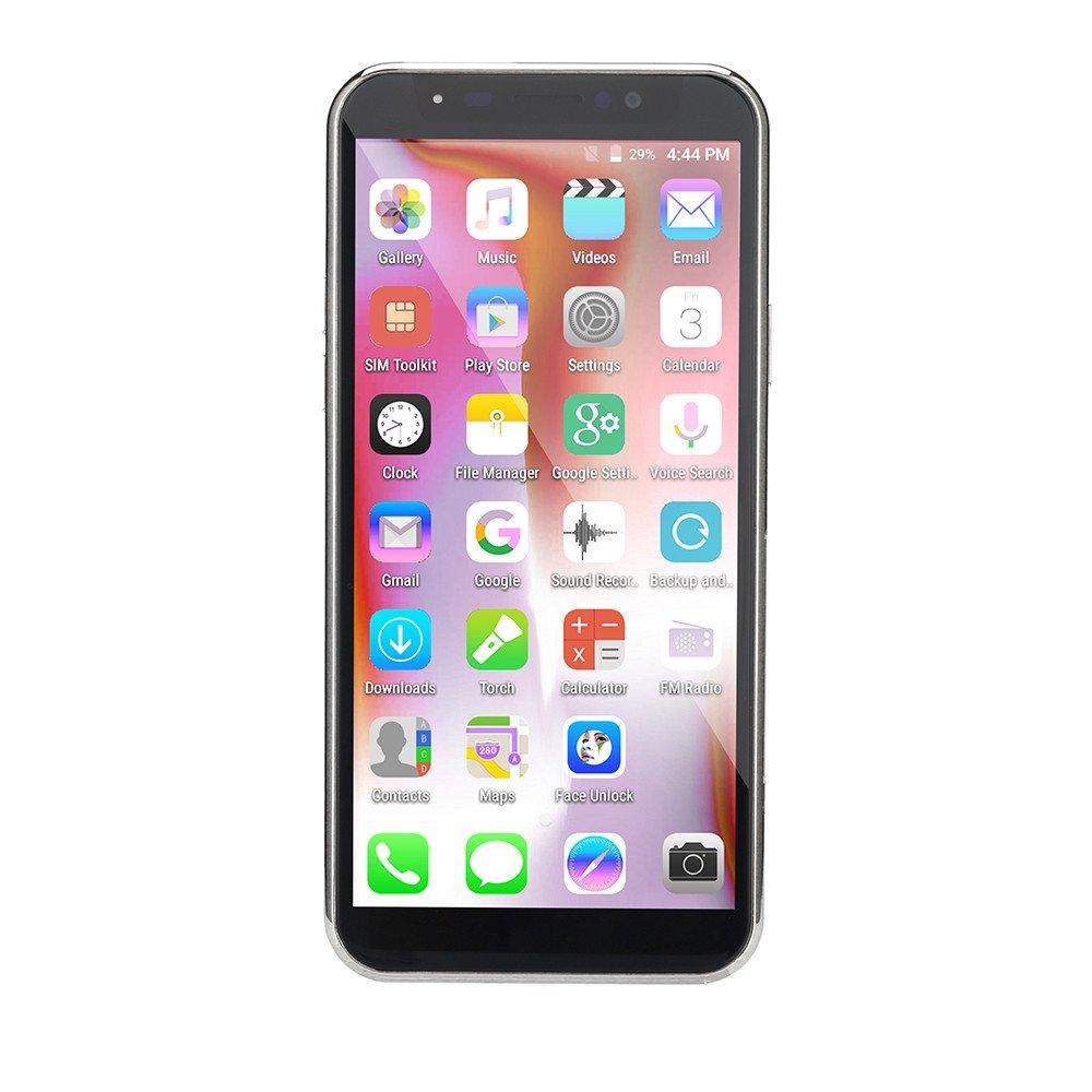 Unlocked Smartphone, 5.72'' Dual HD Camera Smartphone Android 6.0 GSM/WCDMA 1GB RAM+4GB ROM Touch Screen Dual SIM WIFI 3G Call Mobile Phone (X8, White)