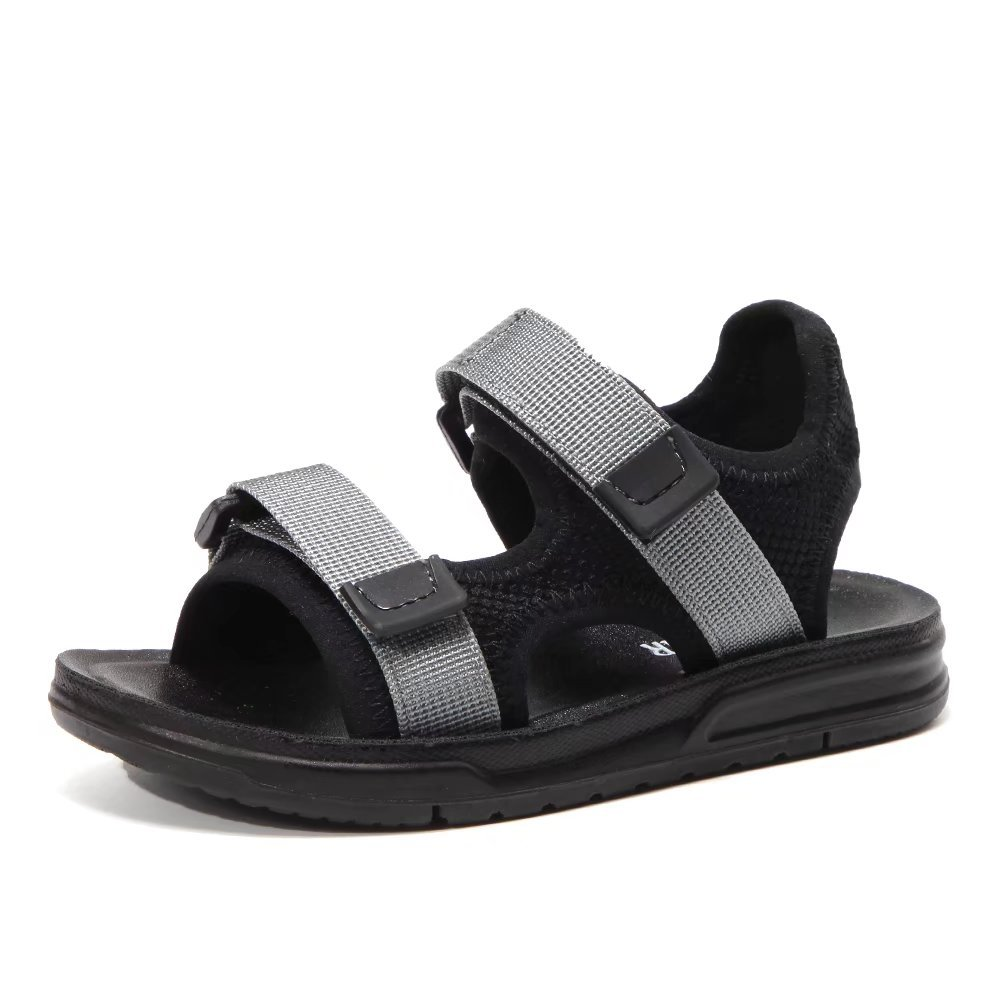HOBIBEAR Boys Open-Toe Sport Sandals Outdoor Two Strap(Grey,13.5)