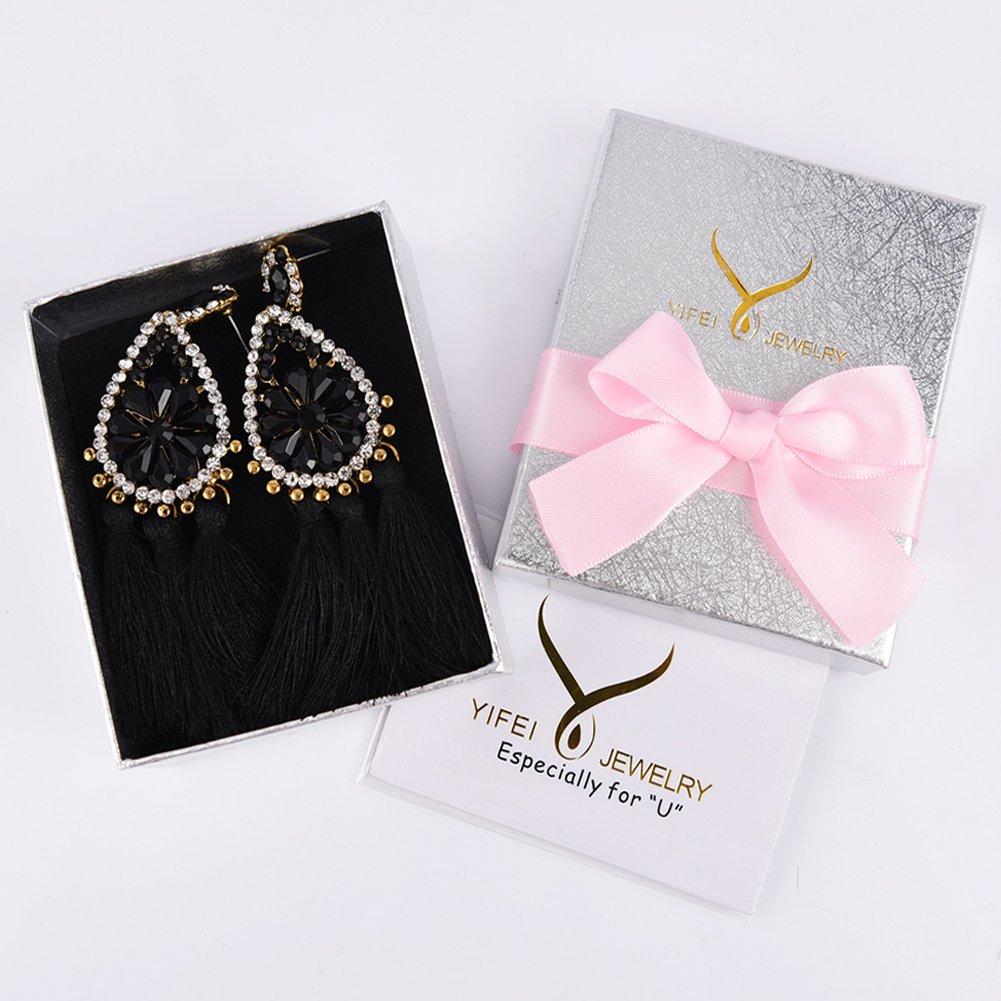 Tassel Dangle Drop Stud Earrings - YIFEI 2018 New Design Rhinestone Bohemian Chandelier Teardrop Statement Handmade Dangling Fringe Earrings For Womens by YIFEI (Image #7)