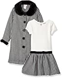 Youngland Little Girls' Houndstooth Coat with Faux Fur Trim, Black/White, 4
