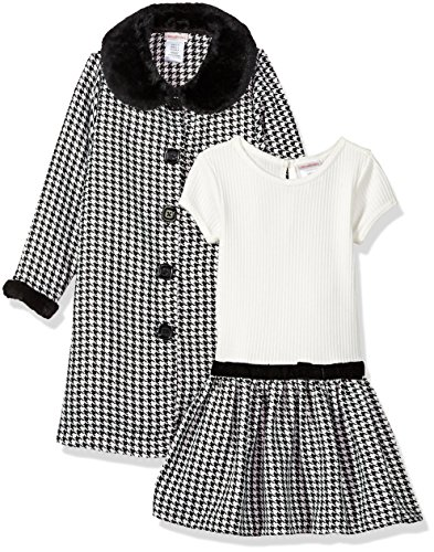 Youngland Little Girls' Houndstooth Coat with Faux Fur Trim, Black/White, 4 by Youngland (Image #1)