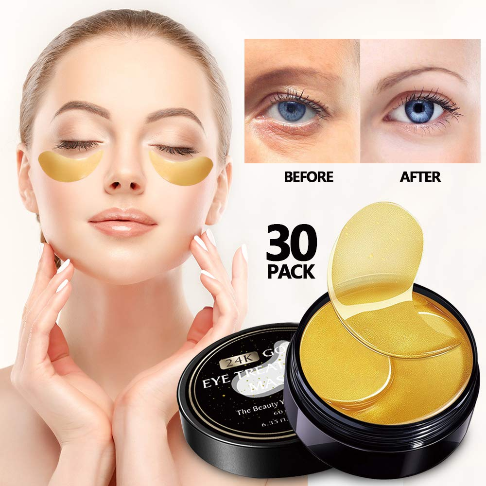 Vanelc 24k Gold Eye Mask-with Collagen Under Eye Patches, Dark Circles Under Eye Treatment, Under Eye Bags Treatment, Eye Mask for Puffy Eyes, Anti-Wrinkle, Undereye Dark Circles, Gel Pads 30 Pairs