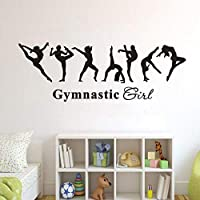 Wall art Removable Vinyl Wall Decal Gymnastics Girl Wall Sticker Kids Room Decor Ballet Dancer Wallpaper Gymnastics Wall Poster 57X20Cm