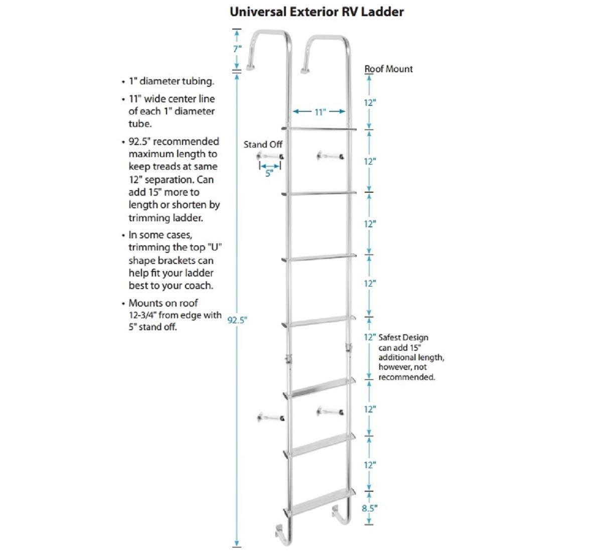 Stromberg Carlson 0139 2100 Silver LA-401 Universal Exterior RV Ladder