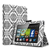 Amazon Kindle Fire HD 6 2014 Case Damask Black - Slim Folding Cover Case for Amazon Kindle Fire HD 6 Inch 2014 Tablet With Smart Cover Auto Wake Sleep