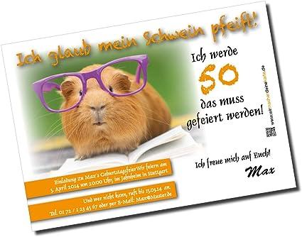 Carte D Invitation Pour Anniversaire Motif Cochon D Inde Amazon Fr Fournitures De Bureau