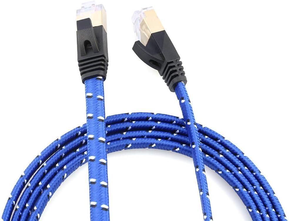 Connectors Cat7 RJ45 10 Gigabit LAN Network Patch Cables Shielded Braide Twisted Pair Internet Cord for PC Computer Desktop Laptop Cable Length: 8m