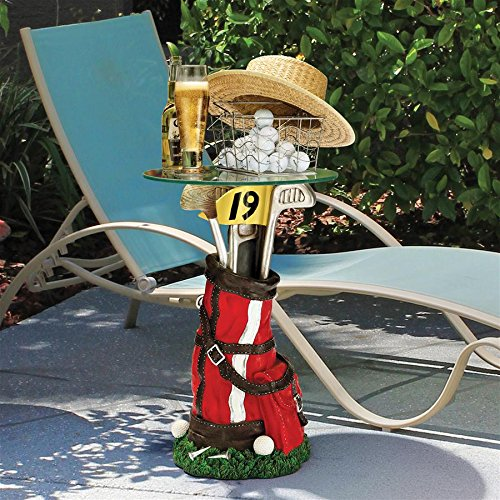 Round Bonded Glass Top Table - Design Toscano On Par Golf Bag Sculptural Glass-Topped Table