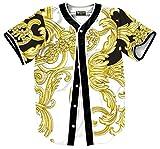Pizoff Short Sleeve Arc Bottom Baseball Team Jersey 3D All Over Luxury Gold Baroque Floral Print Basketball Shirt Hip Hop Dance V-Neck Button Down Tops Y1724-67-S