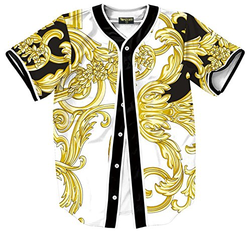 PIZOFF Short Sleeve Arc Bottom Baseball Team Jersey 3D All Over Luxury Gold Baroque Floral Print Basketball Shirt Hip Hop Dance V-Neck Button Down Tops Y1724-67-S - Gold 3d Baseball