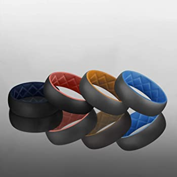 Egnaro Inner Arc Ergonomic Breathable Design,Silicone Wedding Ring for Men with Dual Color,Breathable Rubber Wedding Bands for Athletes Fitness Workout