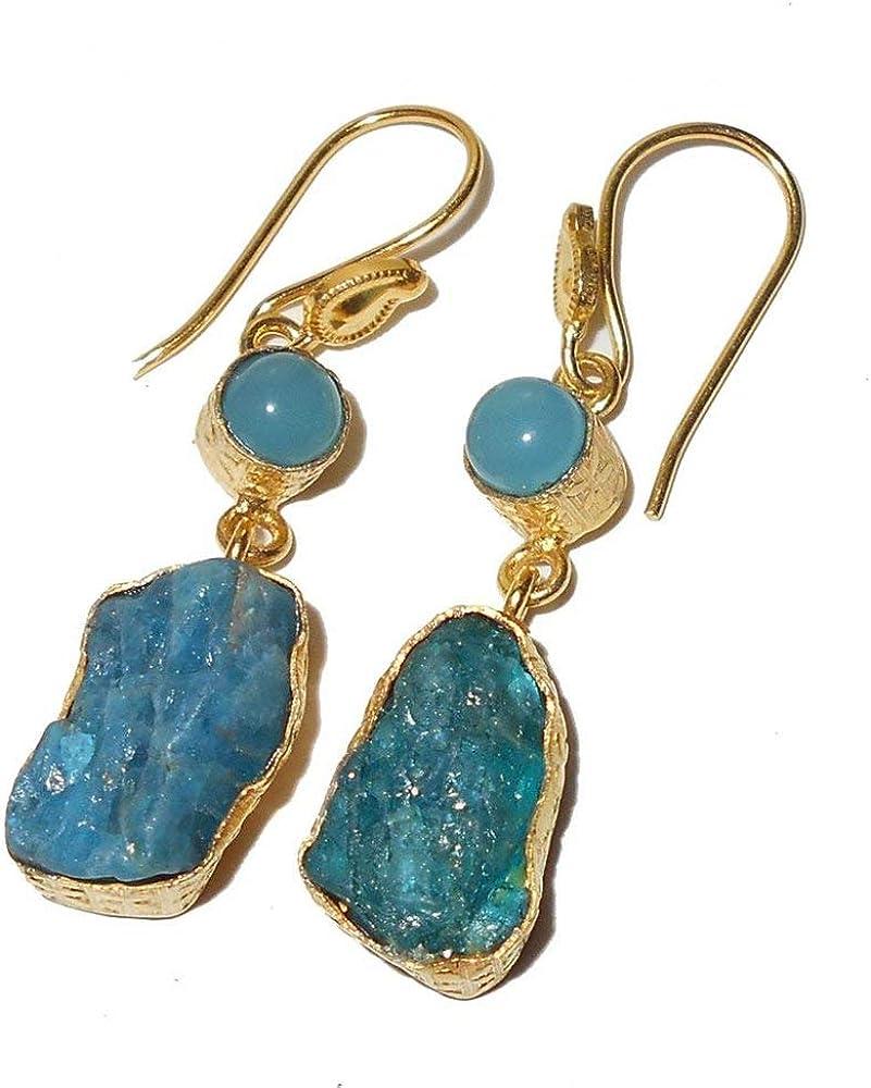 Handmade. Dangle earrings Gemstone Apatite Earring Blue Stone Earrings Apatite And Sterling Silver Dangle Earrings Apatite Earrings