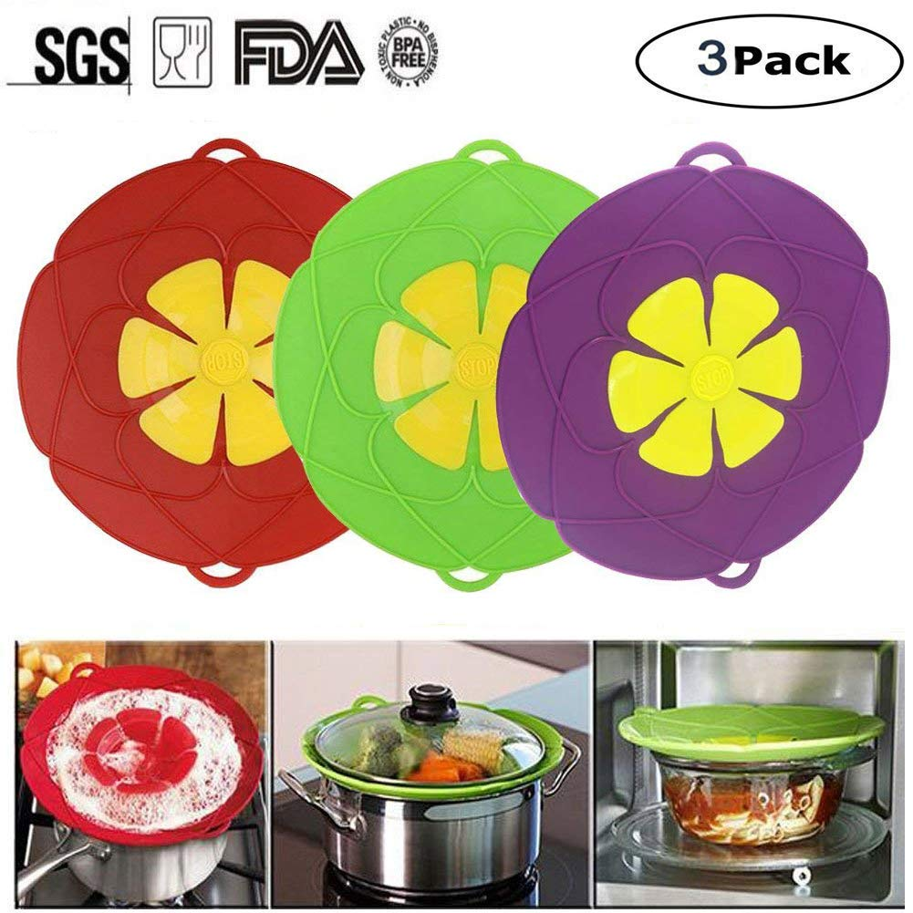 3Pcs Spill Stopper Lid Cover,Boil Over Safeguard,Silicone Spill Stopper Pot Pan Lid Multi-Function Cooking Tool,Kitchen Gadgets,Christmas Gift for Cooking Lover,Parents,Friends (Green + Red + Blue)