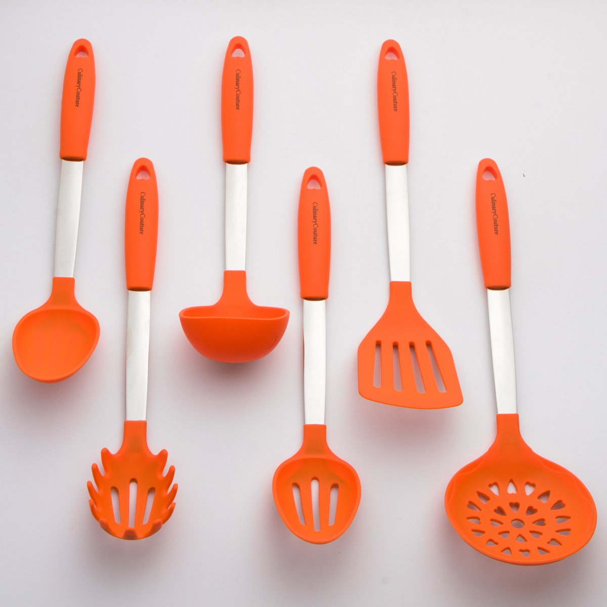 Amazon.com: Orange Cooking Utensil Set   Stainless Steel U0026 Silicone Heat  Resistant Professional Kitchen Tools   Spatula, Mixing U0026 Slotted Spoon,  Ladle, ...