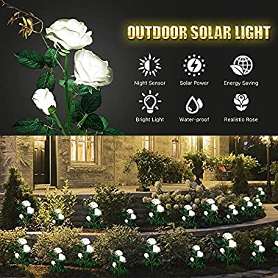 Solar Garden Lights, Outdoor Solar Stake Lights, LEMBO DIRECT Upgraded 2 Pack Outdoor Waterproof LED Solar Powered Flower Stake Landscape Decor Lights 6 Roses for Garden, Patio, Yard, Lawn (White)