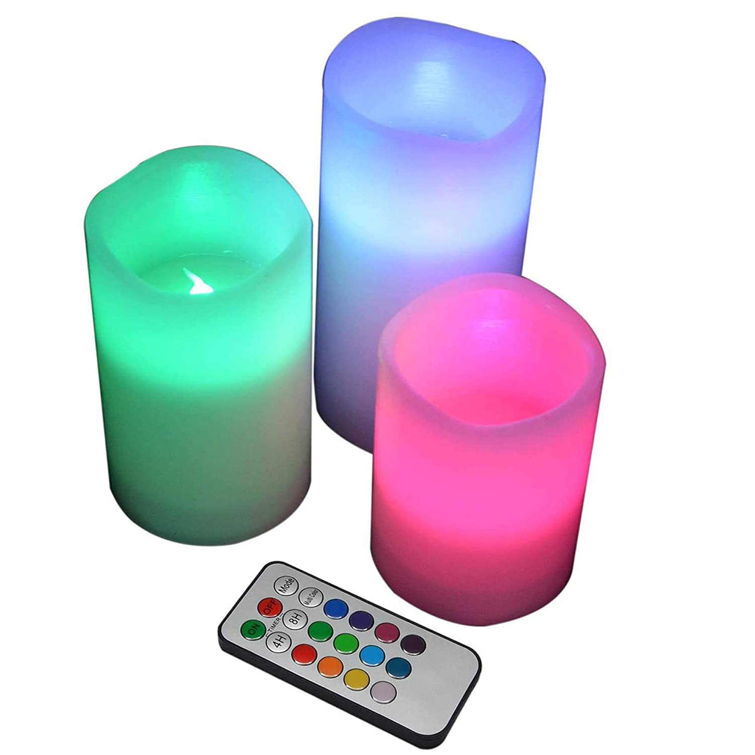 YAKii LED Flameless Wax Candle with Multi Function Remote Control Color Changing Timer for Seasonal Festival Celebration