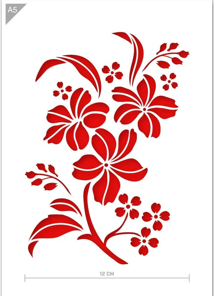 Qbix Flowers Stencil - A5 Size - Reusable Kids Friendly DIY Stencil for Painting, Baking, Crafts, Wall, Furniture
