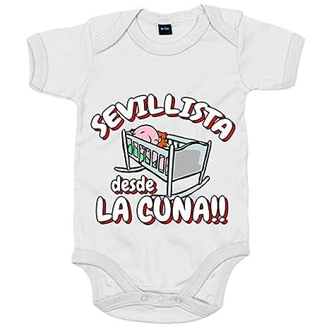 Body bebé Sevillista desde la cuna Sevilla fútbol - Blanco, 6-12 meses