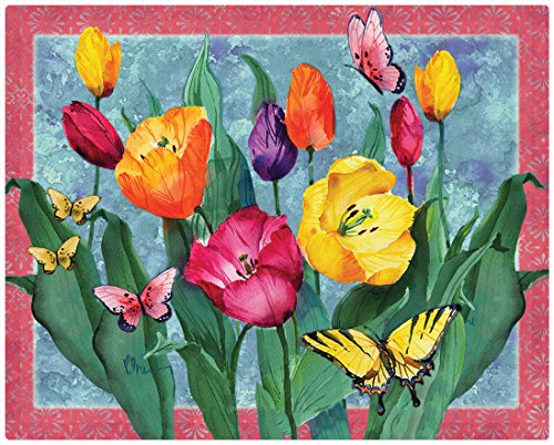 (Magic Slice Tulips with Butterflies by Paul Brent Non-Slip Flexible Cutting Board, 12