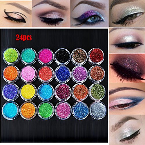 Lookathot Eye Nail Phone Loose Glitter Powder -12/24/45 Pcs Mixed Colors Shimmer Mineral Eye Shadow Dust Powder Makeup Party Cosmetic Set