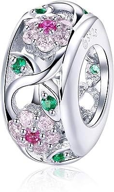 À faire soi-même Fleur européenne Zircon Crystal Charm Silver Spacer Beads Fit Collier Bracelet