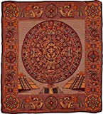 El Paso Designs Mexican Aztec Warrior Popocatepetl Guerrero Azteca Legend Pictorial Woven Blanket (92'' x 74'') (Aztec Calendar Gold, Queen)