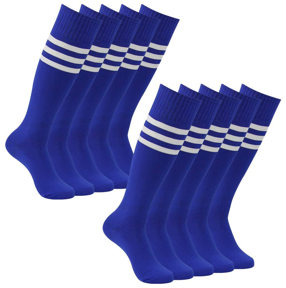 Football Team Socks, Atrest Mens Womens Over The Calf Stretch Long Tube Socks School Team Socks Blue+White Striped 10 Pairs by Atrest