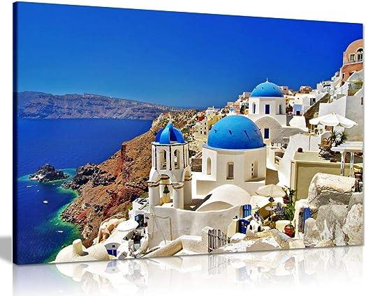 Santorini Greek Islands Canvas Wall Art Picture Print 36×24