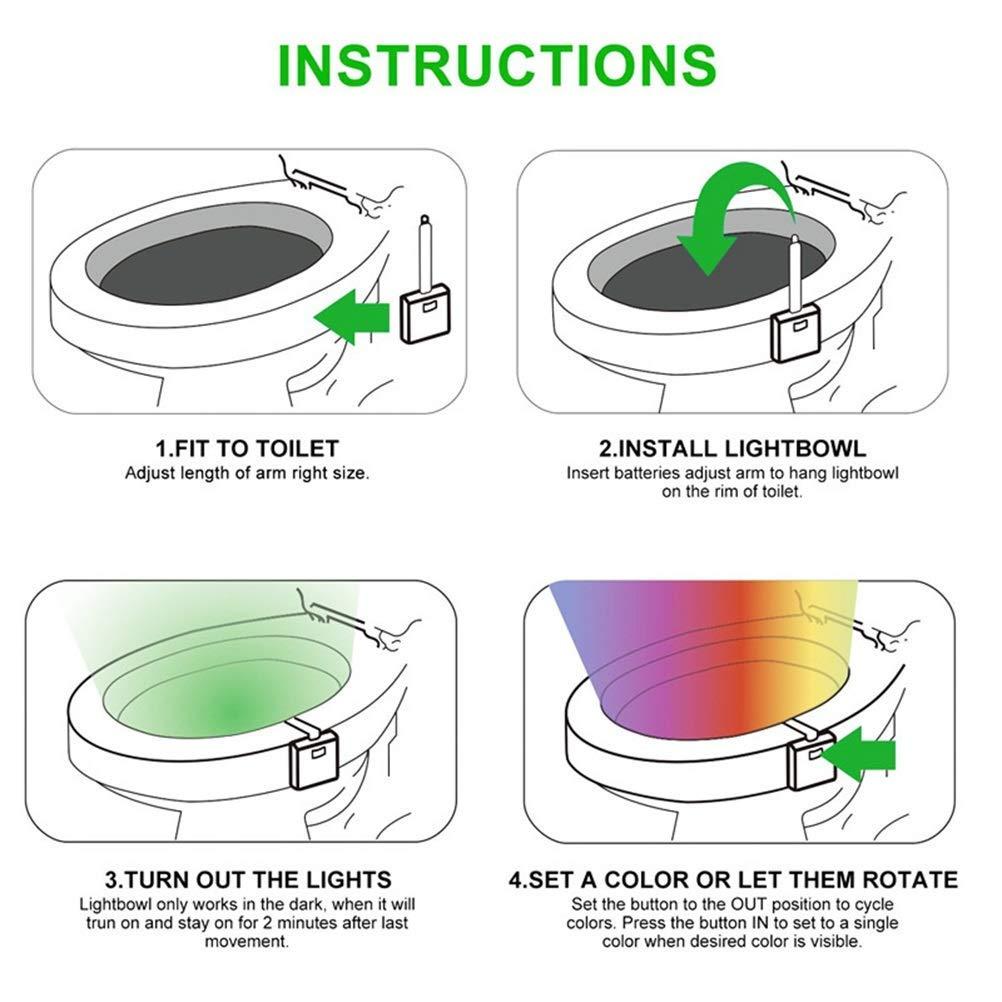 Adaptable a cualquier inodoro Luz Ba/ño con Sensor de Movimiento super sensible con 8 cambios de color Wc Luz con eficiencia energetica Led A