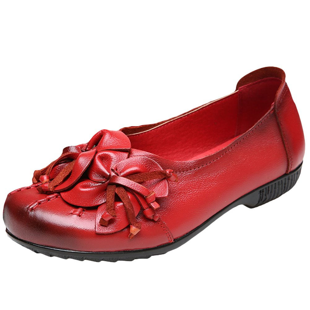 Mordenmiss Women's Fall New Flat Flower Pattern Shoes Style 4-41-Red