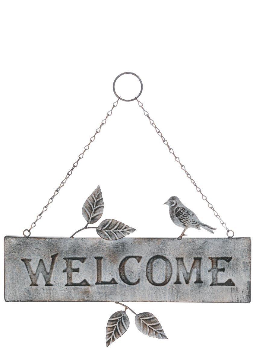 Special T Imports Metal Bird and Leaves Indoor Outdoor Metal Welcome Plaque Sign for Porch Door Etc