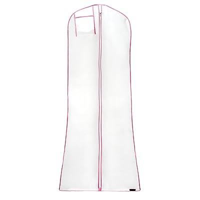 "Hangerworld 3 Showerproof Dress Bags, White with Pink Trim, 72"" length"